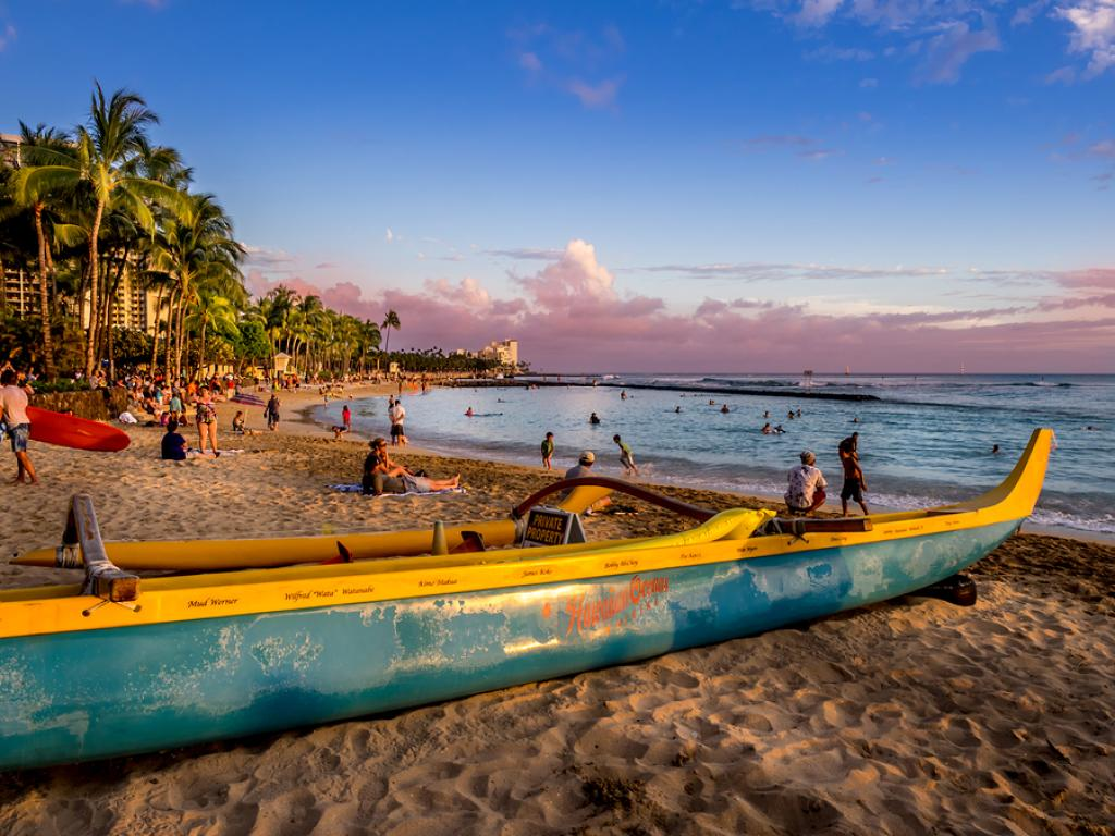 Hawaii - beach boats sunset