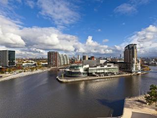 Skyline and Salford Quays, Manchester, England
