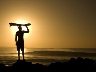 Hawaiian Surfer at Sunset