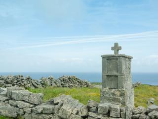 Cross and Ruins on the Aran Islands, Ireland