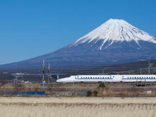 Mountain Fuji and Shinkansen Bullet Train