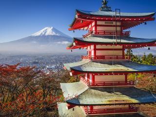 Mt. Fuji and Pagoda During Fall Season Japan
