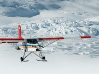Flying over the Tasman Glacier