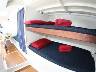 British Defender - Interior Midship Bunks and Table