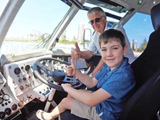 Boy driving Aquaduck