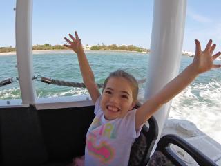 Happy girl on Aquaduck