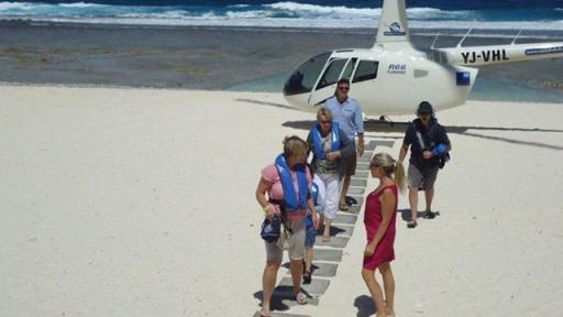 Heli arrival on beach