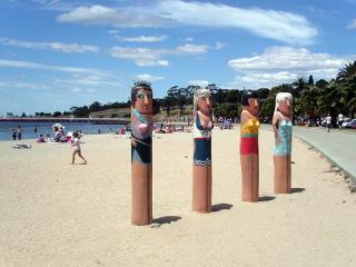 Carvings on Geelong Beach