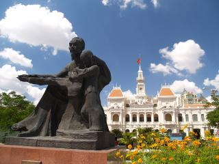 Statue of Ho Chi Minh infront of Ho Chi Minh City Hall
