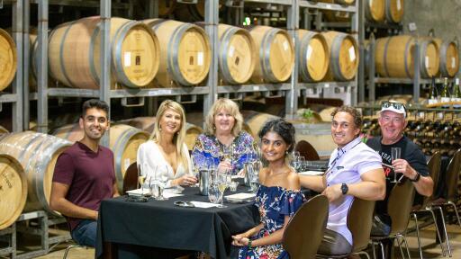 McLeod Tours - Wine tasting in the barrel room